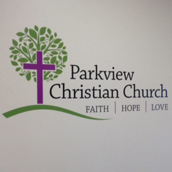 Church sign Parkview Christian Church interior vinyl sign