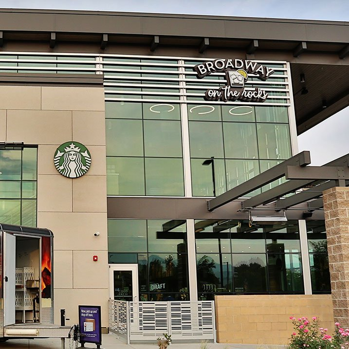 Grocery sign Albertsons Starbucks sign