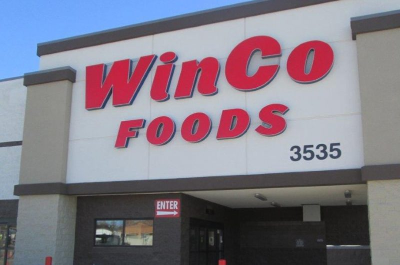 Grocery Winco foods building plaque