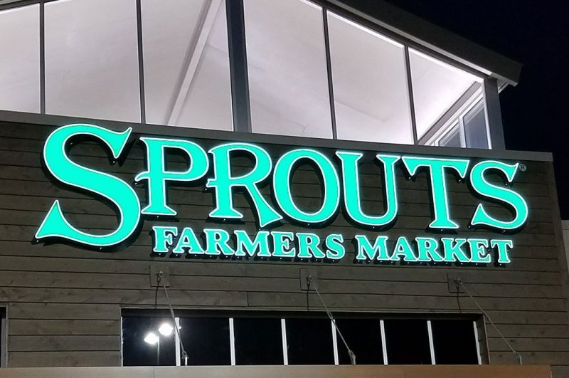 Grocery sign Sprouts lighted sign
