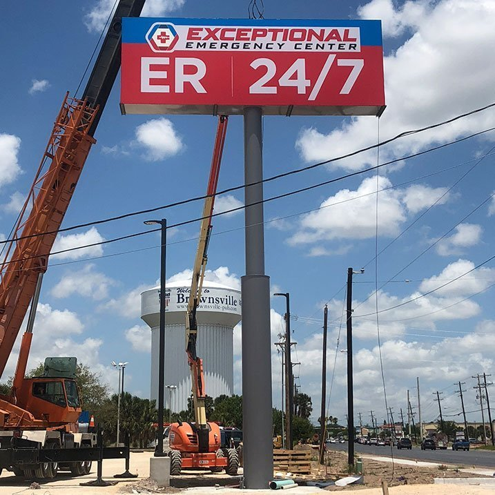 Healthcare Exceptional Emergency Pylon Sign