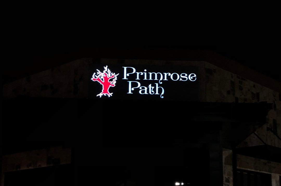 Restaurants Primrose Path exterior lighted sign