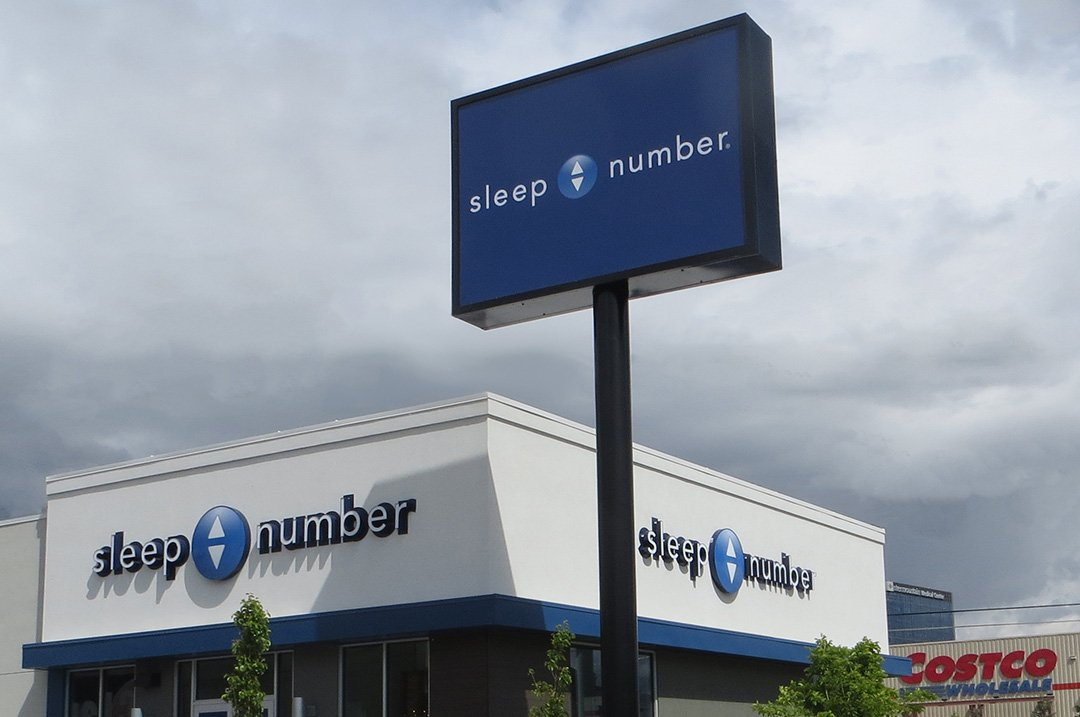 Retail gallery sign sleep number pylon sign