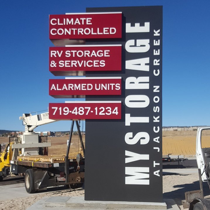 Self Storage Jackson Creek monument sign
