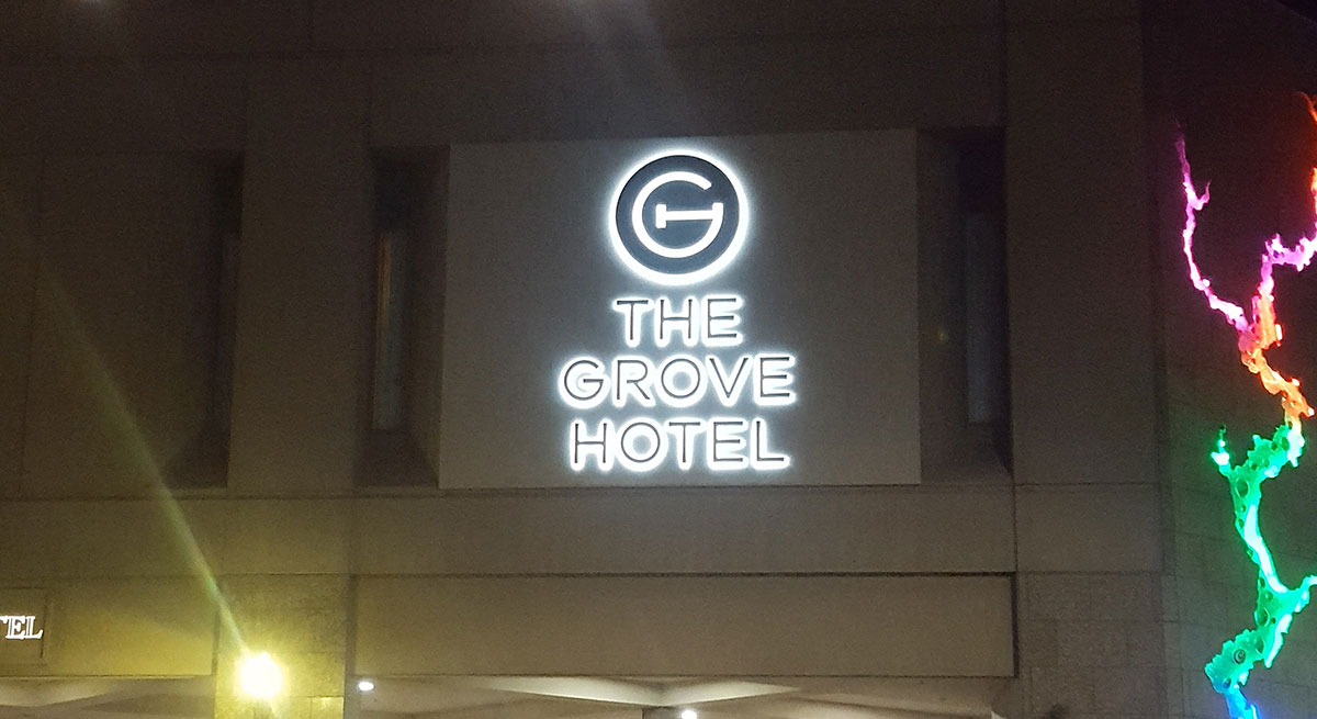 The Grove Hotel sign